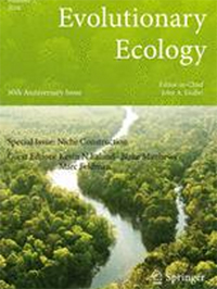 Evolutionary Ecology front cover