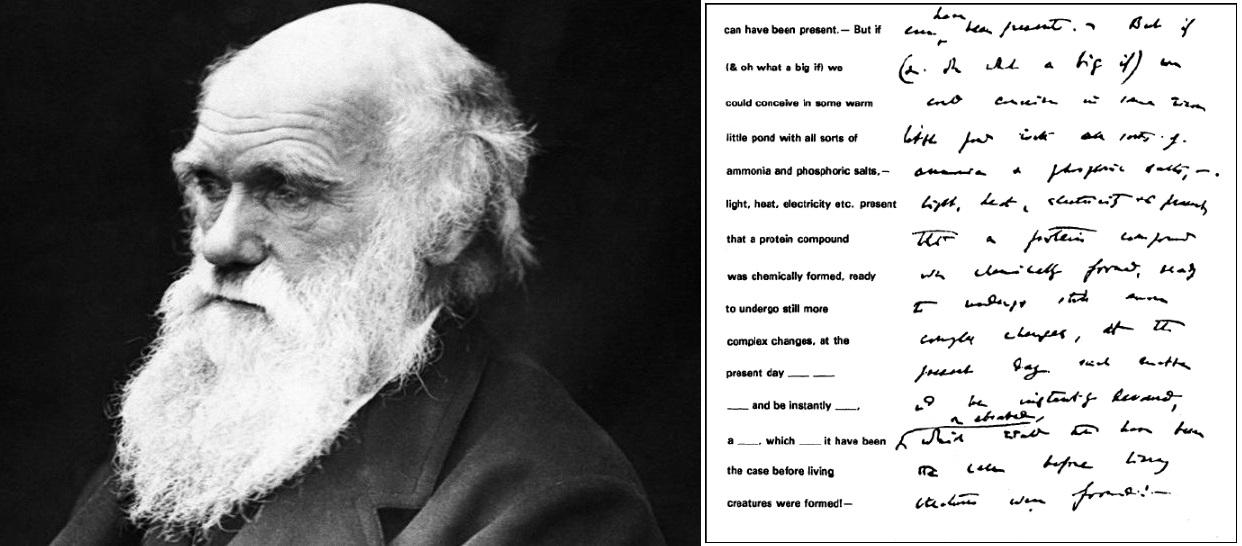 Charles Darwin portrait and his letter