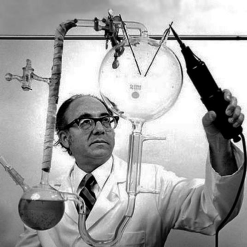 Stanley Miller working in the lab